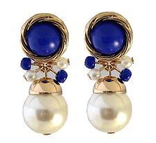 Dark Blue Beads Pearls Gold Tone Stud Dangle Earrings UK Shop