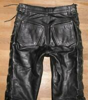 """HARD LEATHER STUFF"" Schnür- LEDERJEANS / Biker- Lederhose in schwarz W29"" /L30"""