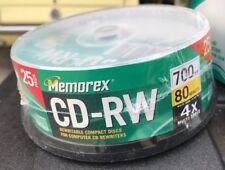 25 Pack New Memorex 4X Rewritable 700MB CD-RW