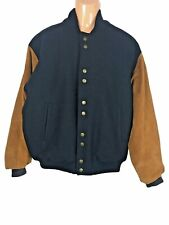 Traffic Clothing Company bomber aviation jacket wool leather navy tan size Med