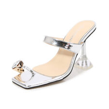 Rhinestone Queer Lgbt Women Shoes 46 Toe Ring Crystal Clear Mules Heeled Sandals