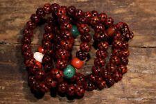 Chinese Antique Tibetan Buddhism Hand Polished Eagle Bone Bead Bracelet Necklace
