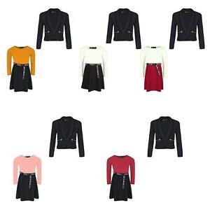 Girls Jacket Blazer With Zip Pockets Tik Tok Skater Belt Dress Set Bundle 3-14