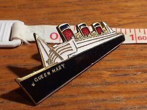"VINTAGE Queen Mary WHITE STAR LINE 1.5"" Brass/Enamel Pin/Badge"