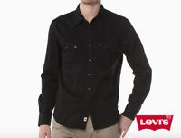 Levi's Classic Casual Denim Black Sawtooth Western Shirt Color Black 0098