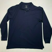 LL Bean Long Sleeve Cotton Navy Blue Casual Collared Polo Shirt Mens Size L Tall
