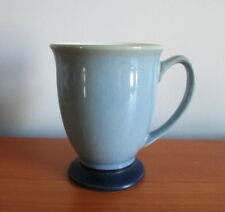 "Denby Blue Jetty Pedestal Mug Footed White Interior 4 1/4"" Stoneware England"
