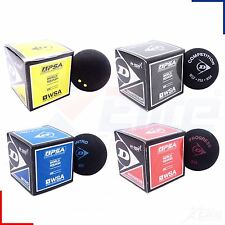Dunlop Pro Squash Balls Double Dot Yellow, Intro Blue, Red Progress, Competition