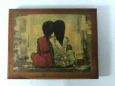 Two Little Girls Abstract Landscape Vintage Print on Wood Plaque Nursery Decor