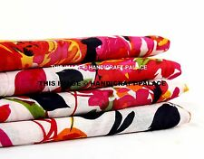 White Indian Floral Print Cotton Fabric Dressmaking Curtains Sewing By 5 Yard