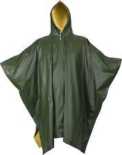 "Olive Drab & Yellow Rubberized Nylon Reversible Rain Poncho - 50"" x 80"""