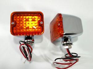 Pair Amber LED Turn Signal Park Indicator Lights Chrome Metal Bullet Car Hot Rod