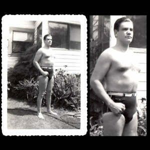 COCKY THICK BEEFCAKE LIFEGUARD in SUPERMAN BATHING SUIT ~1930s VINTAGE PHOTO gay