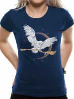 Harry Potter Hedwig Broom T Shirt Official Ladies Skinny NEW XL