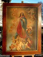 antikes Ölgemälde Madonna mit Engelschar signiert excellente Künstlerarbeit
