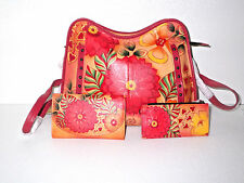 Anuschka Summer Bloom Leather Studded Crossbody & Card Organizer & Wallet  NWT
