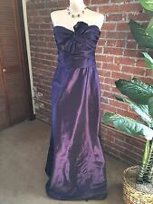 AMSALE PURPLE STRAPLESS FULL LENGTH GOWN SIZE 12, BOW AT BUST:FREE SHIP