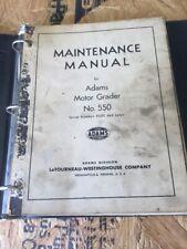 Adams 550 Motor Grader Maintenance Manual