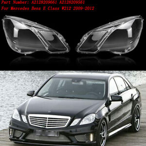 Pair Left & Right Headlight Lens Lamp Cover For 09-12 Mercedes Benz E Class W212