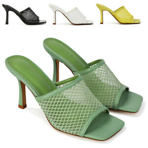 Womens High Heel Sandals Ladies Slip On Square Toe Heeled Mules Size 3-8