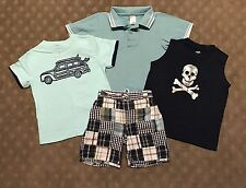 EUC Gymboree Boys 4-pc Outfit Plaid Shorts Tank Top Tee Shirt Polo 3 4 5