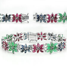 Sterling Silver Bracelet Natural Pink Ruby Green Emerald Blue Sapphire 7 Inch
