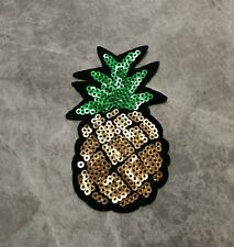 PINEAPPLE SEQUIN PATCH FRUIT CRAFT DANCE HOLIDAY BEACH IRON ON APPLIQUE BADGE