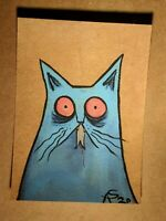 Original OOAK Painting ACEO ATC 2.5 x 3.5 Signed Blue Cat With mouse in Mouth
