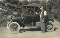 Early Car Auto Man Posing Probably Florida c1910 Real Photo Postcard