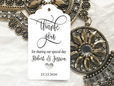 10 Kraft White Gift Tags Wedding Favour Bomboniere Personalised Thank You V5
