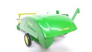Tin Metal Green John Deere Pull Behind Combine Farm Toy USA Made Ertl or Carter?
