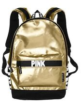 Victorias Secret PINK CAMPUS BACKPACK - Gold Foil Bling - 2017 - NWT