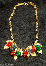 """GILDED GRAPE LEAVES & CHAIN GLASS BEAD 19"""" NECKLACE AN ESTATE PIECE"""