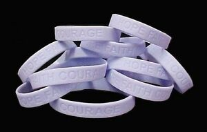 """Periwinkle Awareness Bracelets 12 Piece Lot Cancer Cause Silicone Wristband 8"""""""