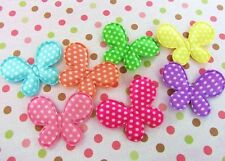 "70 Satin Polka Dots Color Butterfly 1.75"" Applique/Padded/Bow/Sewing H98-Bright"