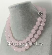 pretty 12mm light pink jade wedding party necklace 33 inch