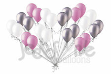 24 pc Sweet Pink White Silver Latex Balloons Party Decoration Birthday Baby Girl