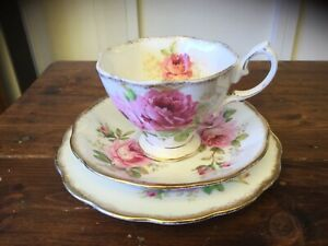 Vintage Royal Albert American Beauty Trio. Cup, Saucer and Plate (1)