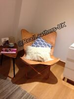BUTTERFLY  CHAIR/ GENUINE LEATHER HAND MADE--LIGHT BROWN- UK SELLER