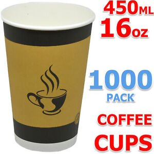 Paper Coffee Tea Cups Strong for Hot & Cold Drinks Vending 16oz - 450 ml printed
