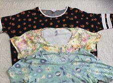 Lularoe Short Sleeve Knit Tops Black, Green, Yellow Women Size Large, Lot Of 3