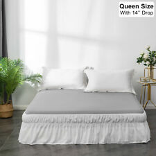 Mohap White Bed Skirt 14'' Drop Dust Ruffle Easy Fit Wrap Around Bed Queen Size