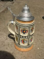 Traditional German Beer Stein With Pewter Lid - Staffel