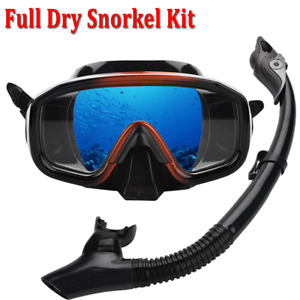 Adult Snorkel Mask Diving Goggles Swimming Snorkeling Full Dry Snorkel Set New