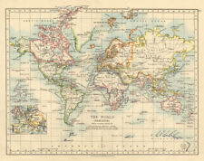 BRITISH EMPIRE World Mercator Currents Steamship routes JOHNSTON 1892 old map