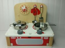 Hape Switzerland Tabletop Stove Kid's Wooden Kitchen Play Set with Accessories