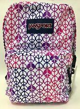 NEW Jansport Superbreak Purple Slick Peace Sign Pink White Backpack Bag w/ Tags