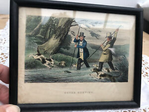 Antique Framed Colour Print c1868 - Otter Hunting, Dogs, Countryside, Rural