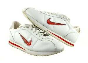 VTG NIKE CORTEZ WOMENS 9 WHITE RED LEATHER TENNIS SHOES RUNNING 304742
