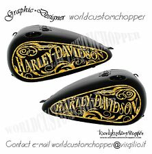 2 ADESIVI DECAL STICKERS GRAFICHE PER SERBATOI HARLEY DAVIDSON SOFTAIL & TOURING